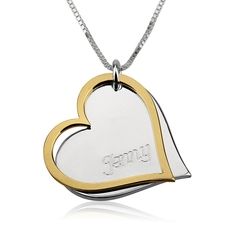 Two Tone Engraved Hearts Necklace
