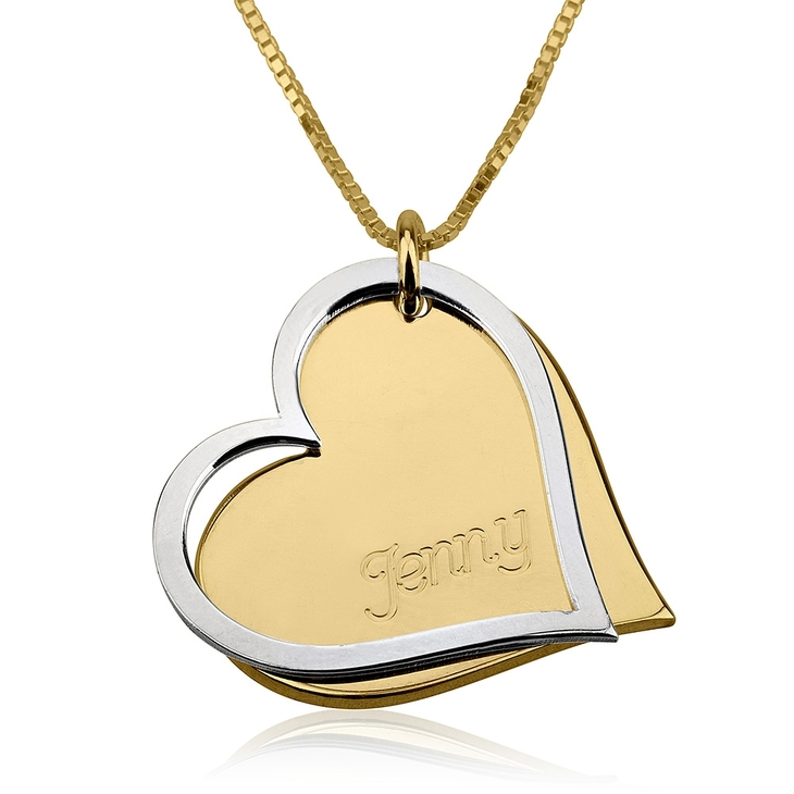 Two Tone Engraved Hearts Necklace - Picture 2