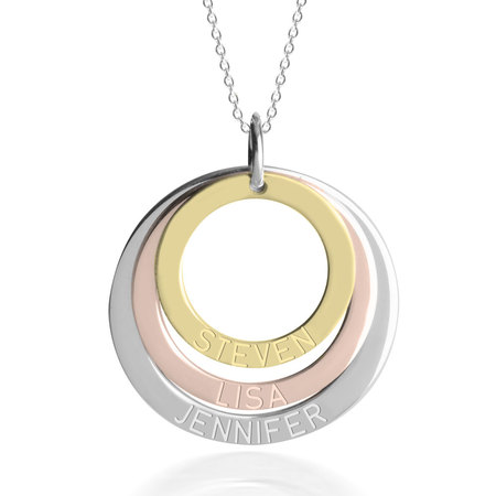Three Tone Ring Engraved Mother Necklace