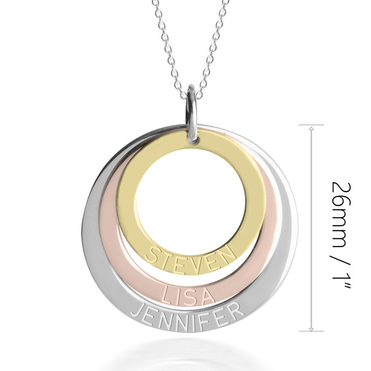 Three Tone Ring Engraved Mother Necklace - Information