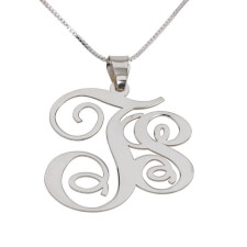 Sterling Silver Two Letters Monogram Necklace