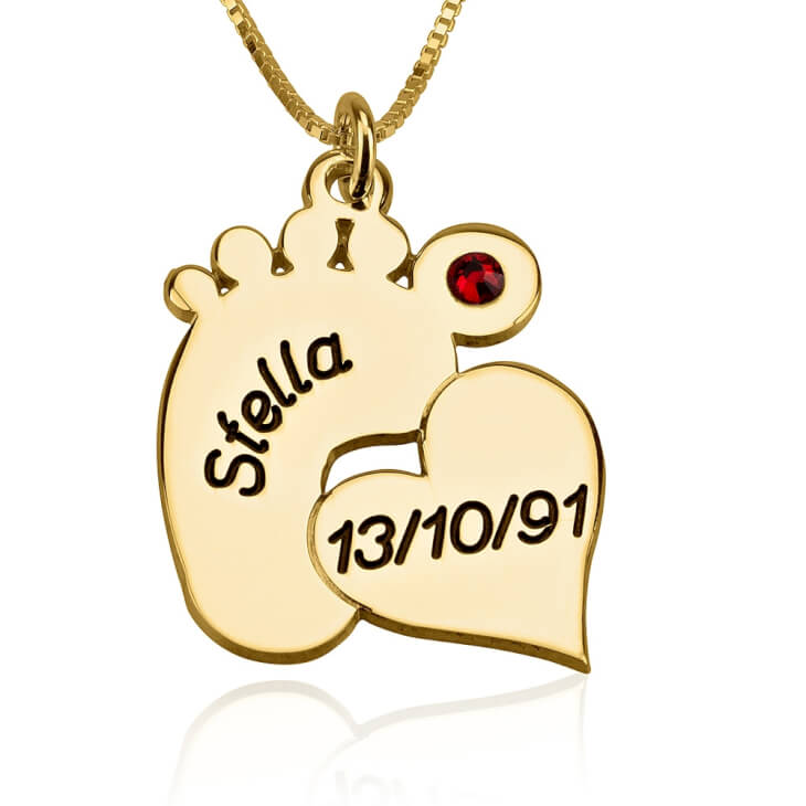 24k Gold Plated Engraved Baby Feet Necklace with Heart