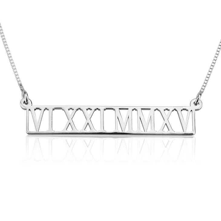 Sterling Silver Roman Numeral Cut Out Necklace