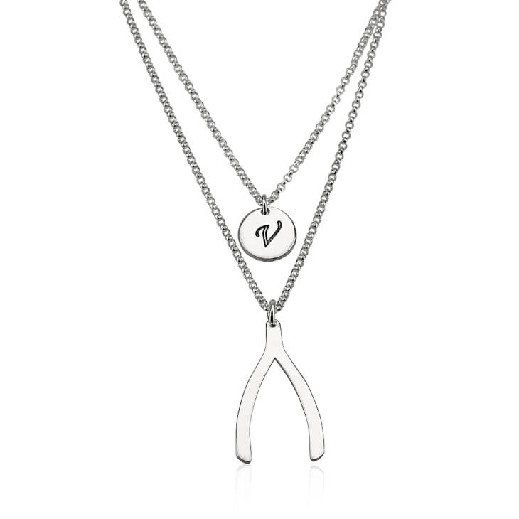 Sterling Silver Initial Wishbone Layered Necklace