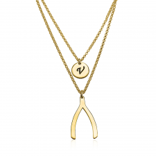 24k Gold Plated Initial Wishbone Layered Necklace