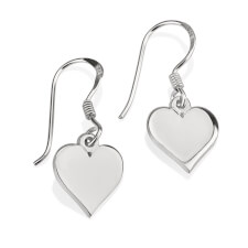 Sterling Silver Dangle Heart Earrings