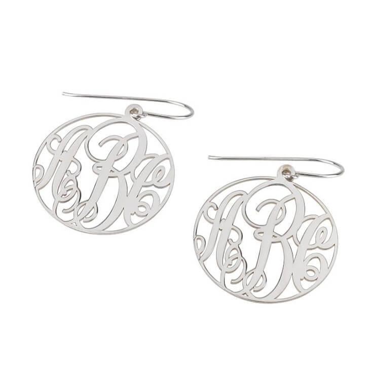 Sterling Silver Monogram Earrings