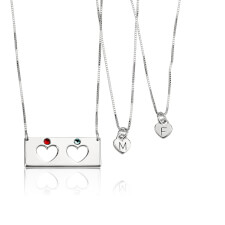 Sterling Silver Engraved Birthstone Bar Mother Daughter Necklace Set