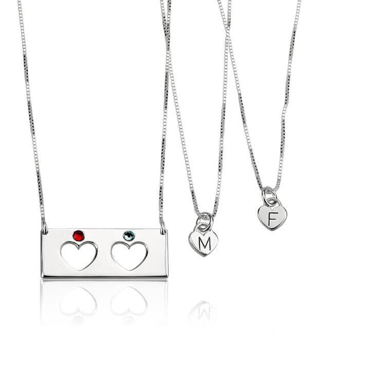 Sterling Silver Engraved Birthstone Bar Mother Daughter Necklace Set