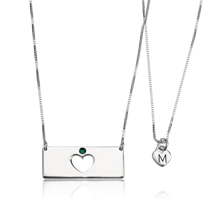 Sterling Silver Engraved Birthstone Bar Mother Daughter Necklace Set  - Picture 2