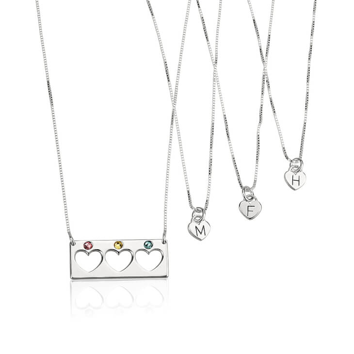 Sterling Silver Engraved Birthstone Bar Mother Daughter Necklace Set  - Picture 3