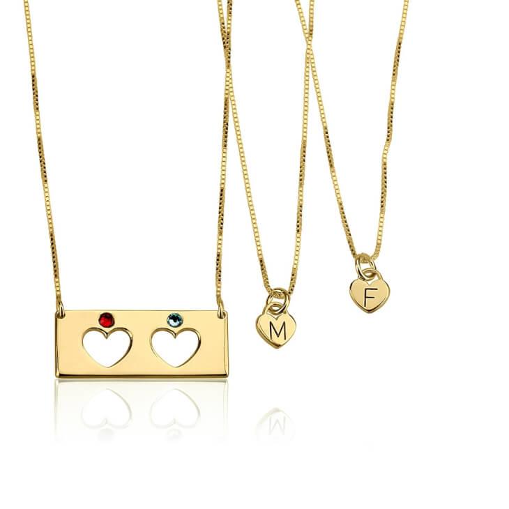 24k Gold Plated Birthstone Bar Mother Daughter Necklace Set