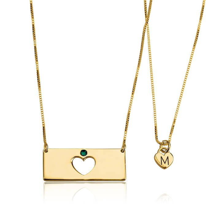 24k Gold Plated Birthstone Bar Mother Daughter Necklace Set  - Picture 2