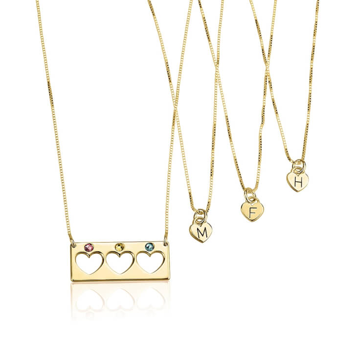 24k Gold Plated Birthstone Bar Mother Daughter Necklace Set  - Picture 3
