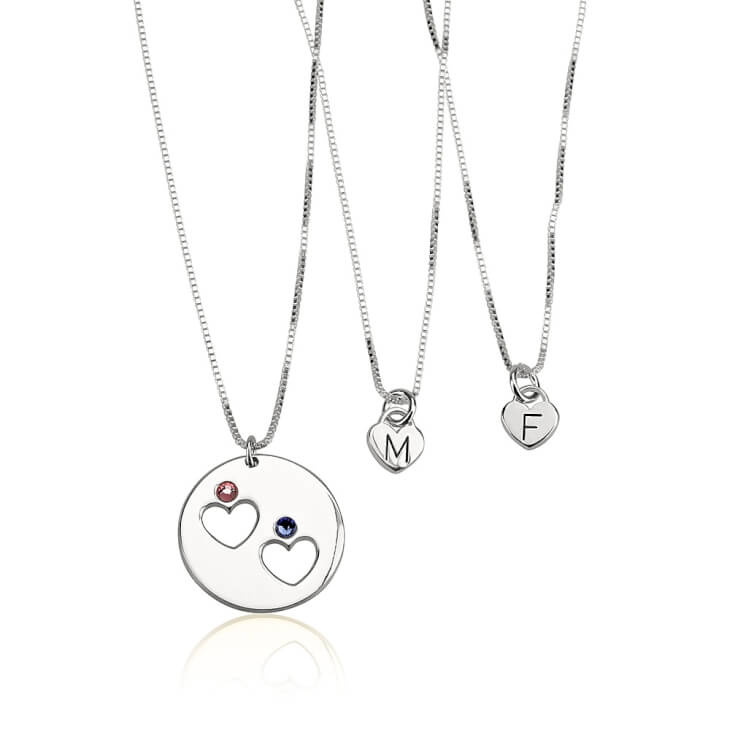 Sterling Silver Engraved Birthstone Mother Daughter Necklace Set