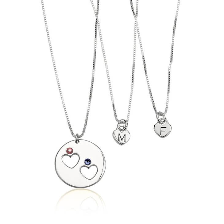 Sterling Silver Engraved Birthstone Mother Daughter Necklace Set