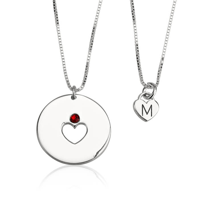 Sterling Silver Engraved Birthstone Mother Daughter Necklace Set  - Picture 2