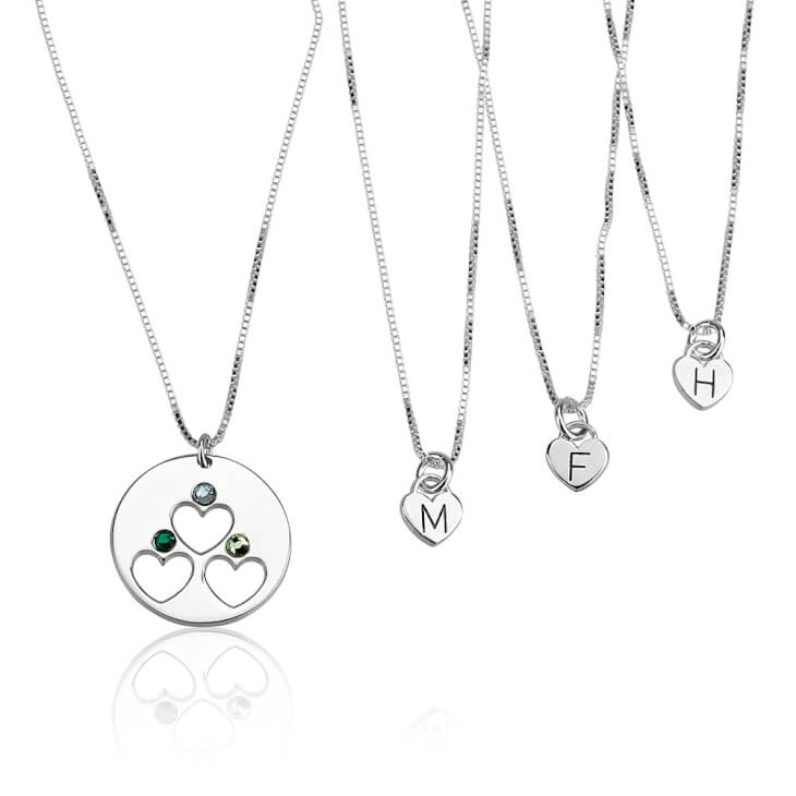 Sterling Silver Engraved Birthstone Mother Daughter Necklace Set  - Picture 3