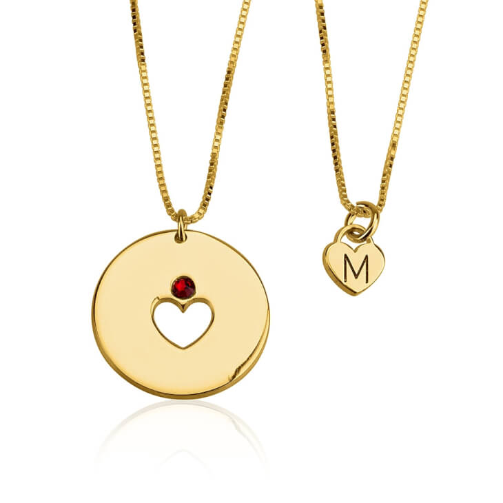 24k Gold Plated Engraved Birthstone Mother Daughter Necklace Set   - Picture 2