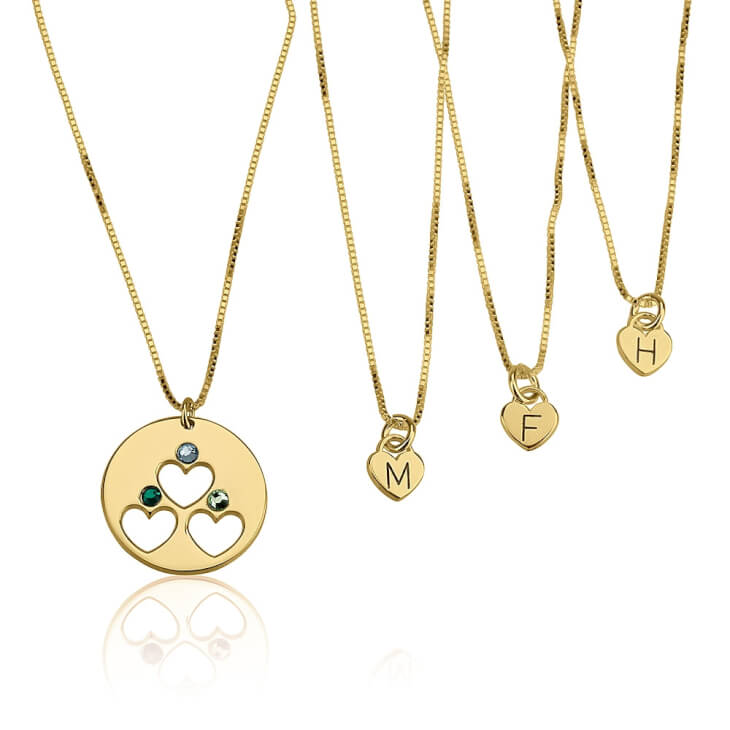 24k Gold Plated Engraved Birthstone Mother Daughter Necklace Set   - Picture 3