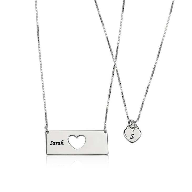 Sterling Silver Engraved Name Mother Daughter Necklace Set  - Picture 2