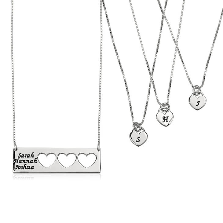 Sterling Silver Engraved Name Mother Daughter Necklace Set  - Picture 3