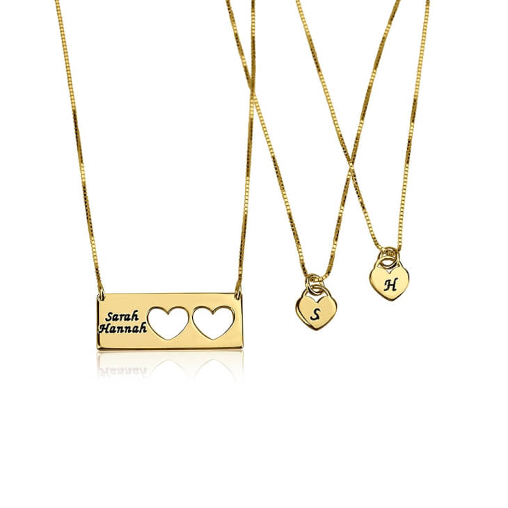 24k Gold Plated Engraved Name Mother Daughter Necklace Set