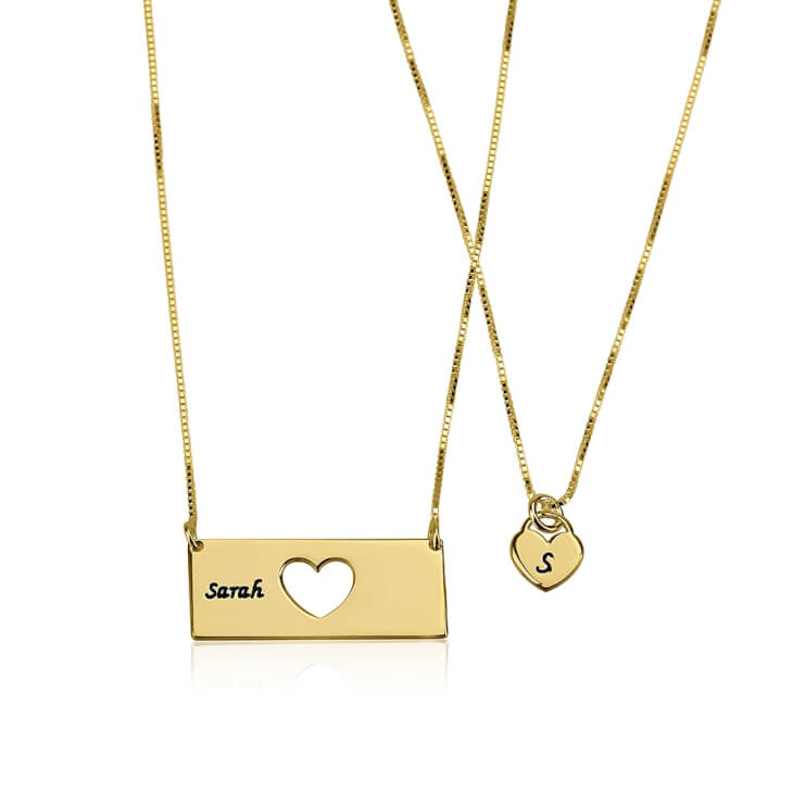 24k Gold Plated Engraved Name Mother Daughter Necklace Set  - Picture 2