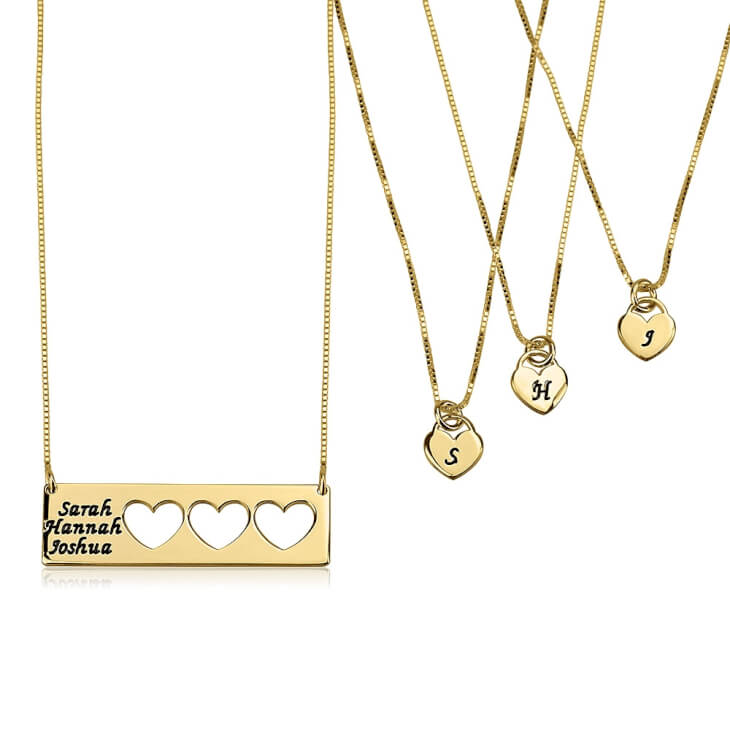 24k Gold Plated Engraved Name Mother Daughter Necklace Set  - Picture 3