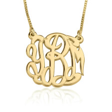24k Gold Plated Celebrity Monogram Necklace