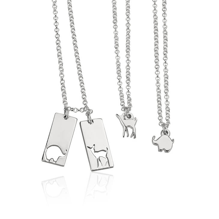Sterling Silver Animal Mother Daughter Necklace Set  - Picture 2