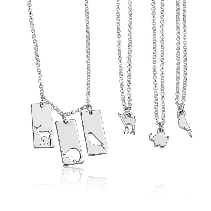 Sterling Silver Animal Mother Daughter Necklace Set  - Picture 3