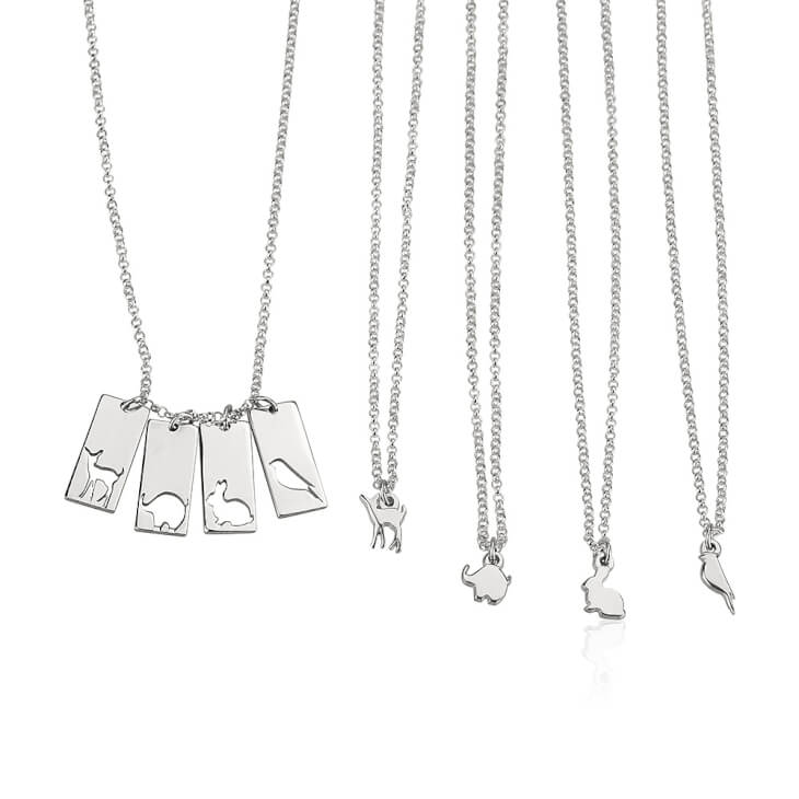 Sterling Silver Animal Mother Daughter Necklace Set  - Picture 4