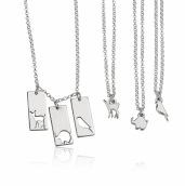 Sterling Silver Animal Mother Daughter Necklace Set