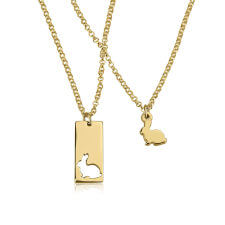 24k Gold Plated Animal Mother Daughter Necklace Set