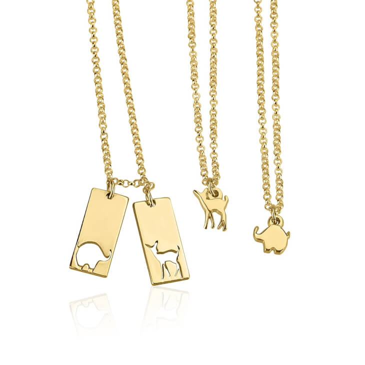 24k Gold Plated Animal Mother Daughter Necklace Set  - Picture 2