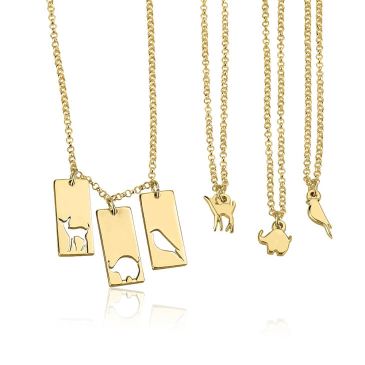 24k Gold Plated Animal Mother Daughter Necklace Set  - Picture 3