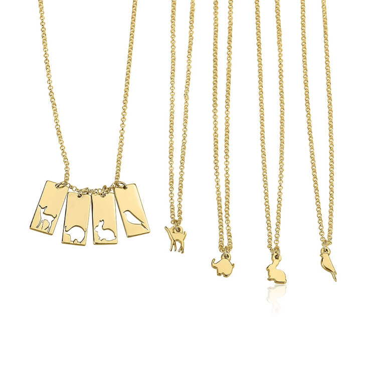24k Gold Plated Animal Mother Daughter Necklace Set  - Picture 4