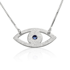Sterling Silver Evil Eye Necklace with Birthstone