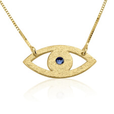 24k Gold Plated Evil Eye Necklace with Birthstone