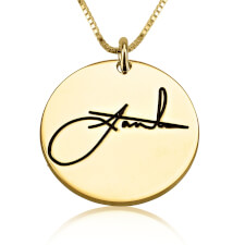 24k Gold Plated Circle Signature Necklace