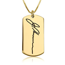 24k Gold Plated Dog Tag Signature Necklace