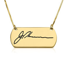 24k Gold Plated Signature Bar Necklace