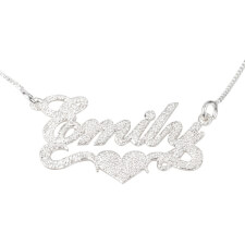 Sparkling Name Necklace with Centre Heart