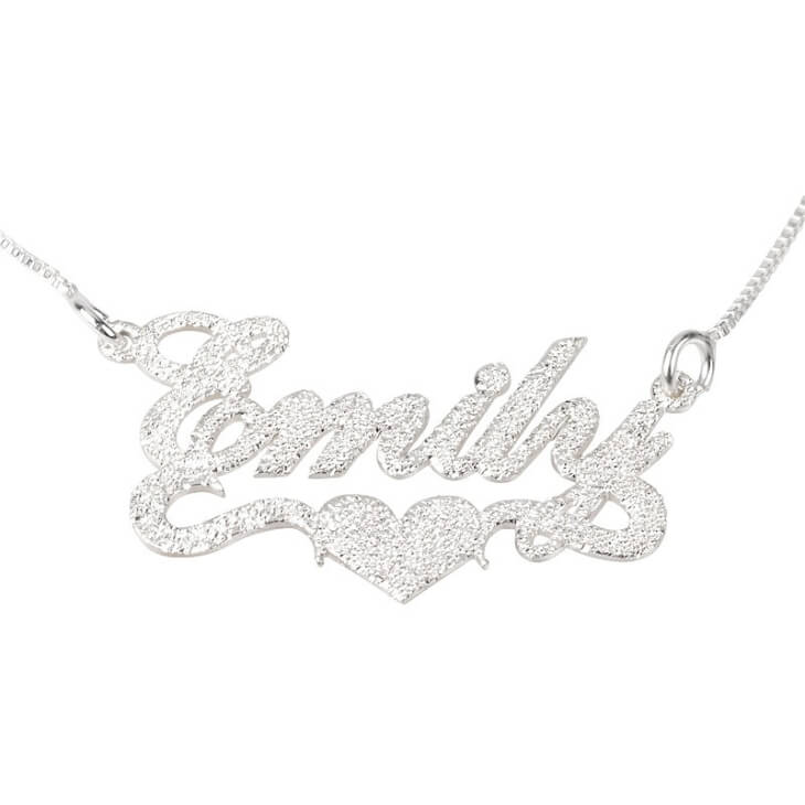 Sparkling Name Necklace with Center Heart