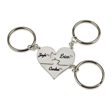 Sterling Silver Engraved Heart Three Piece Puzzle Keychain Set