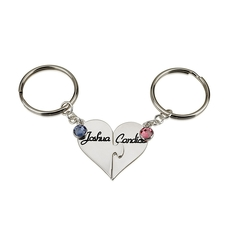 Sterling Silver Heart Birthstone Keychain Set