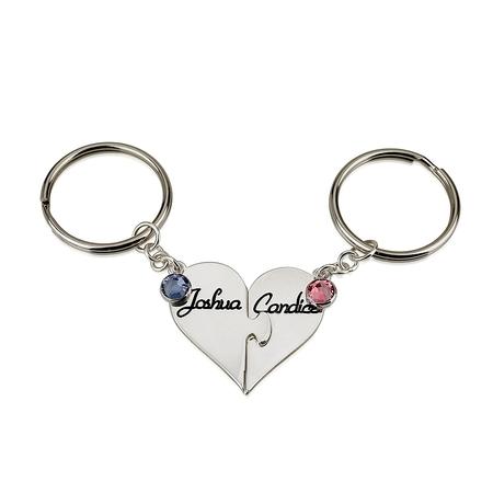 Sterling Silver Heart Birthstone Keychain Set