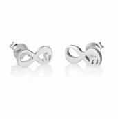 Sterling Silver Initial Infinity Stud Earrings