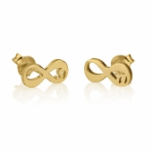 24k Gold Plated Initial Infinity Stud Earrings